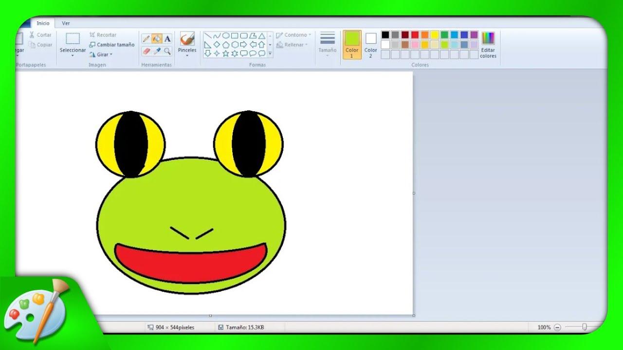 Aprender a dibujar una carita de rana en Paint  YouTube