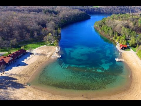 Green Lakes State Park,  Upstate NY (Drone Flight In HD)