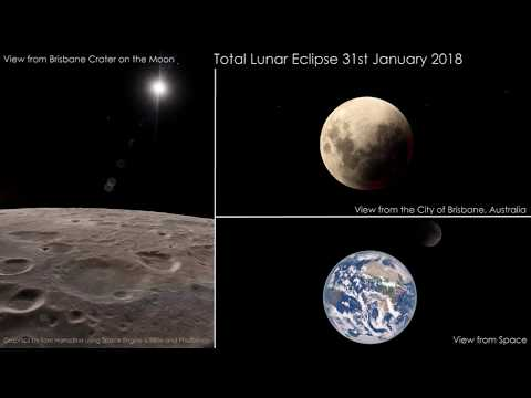 3 views of the 31st Jan 2018 Total Lunar Eclipse