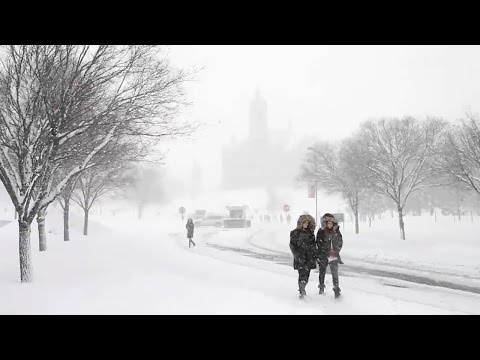 Syracuse University students return to snow-covered campus (January, 2016)