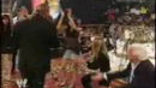 Triple H celebrates With Evolution&Randy orton segment