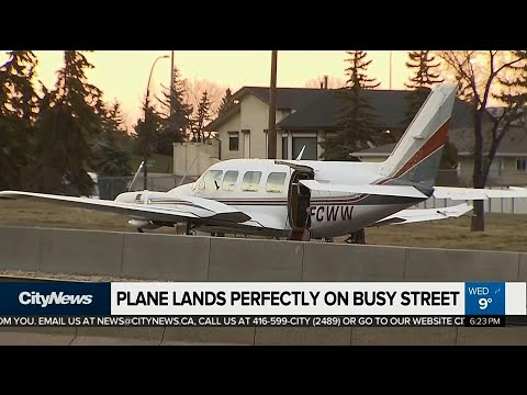 Plane lands perfectly on busy Calgary street