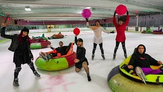 OVERNIGHT IN AN ICE RINK! WE GET CAUGHT! w/ Sam, Colby, Corey & Andrea Russett