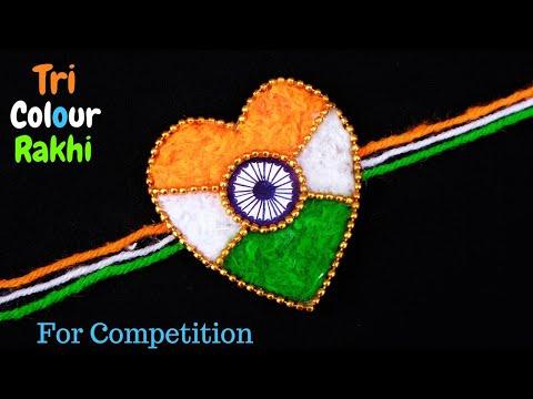 DIY : Indian Tricolour Rakhi | Easy Rakhi making for competition 2019