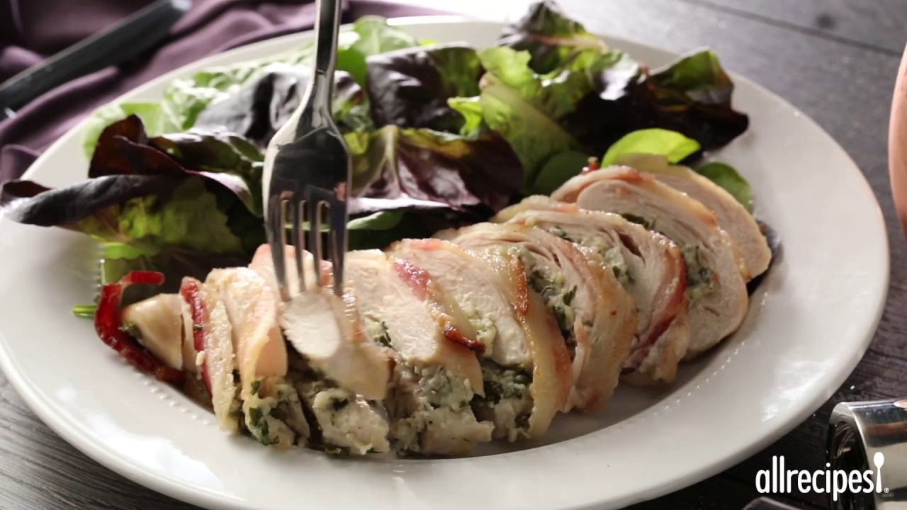 Gorgonzola Stuffed Chicken Breasts Wrapped in Bacon | Chicken Recipes | Allrecipes.com - YouTube
