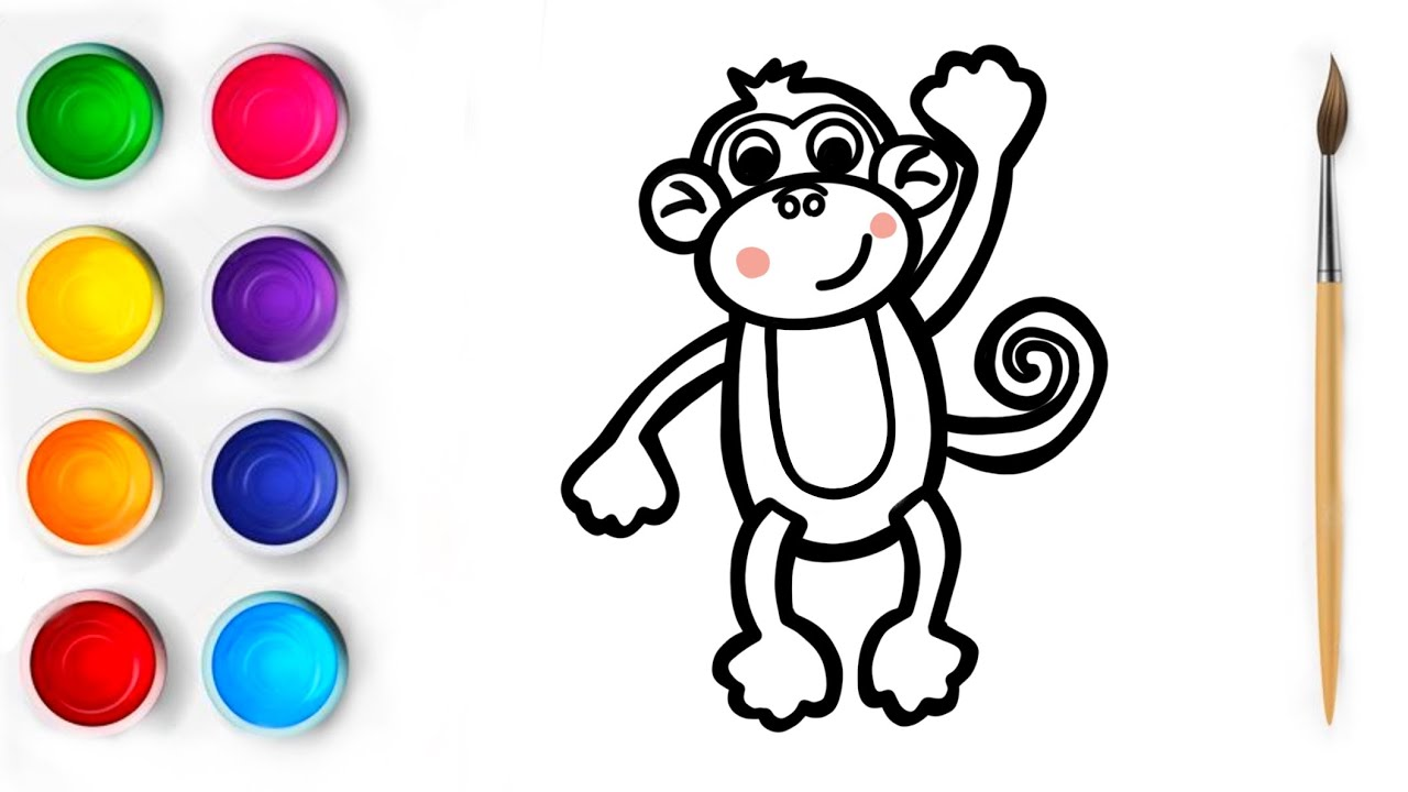 Cómo Dibujar Un Mono  How to draw a monkey   Как нарисовать обезьяну