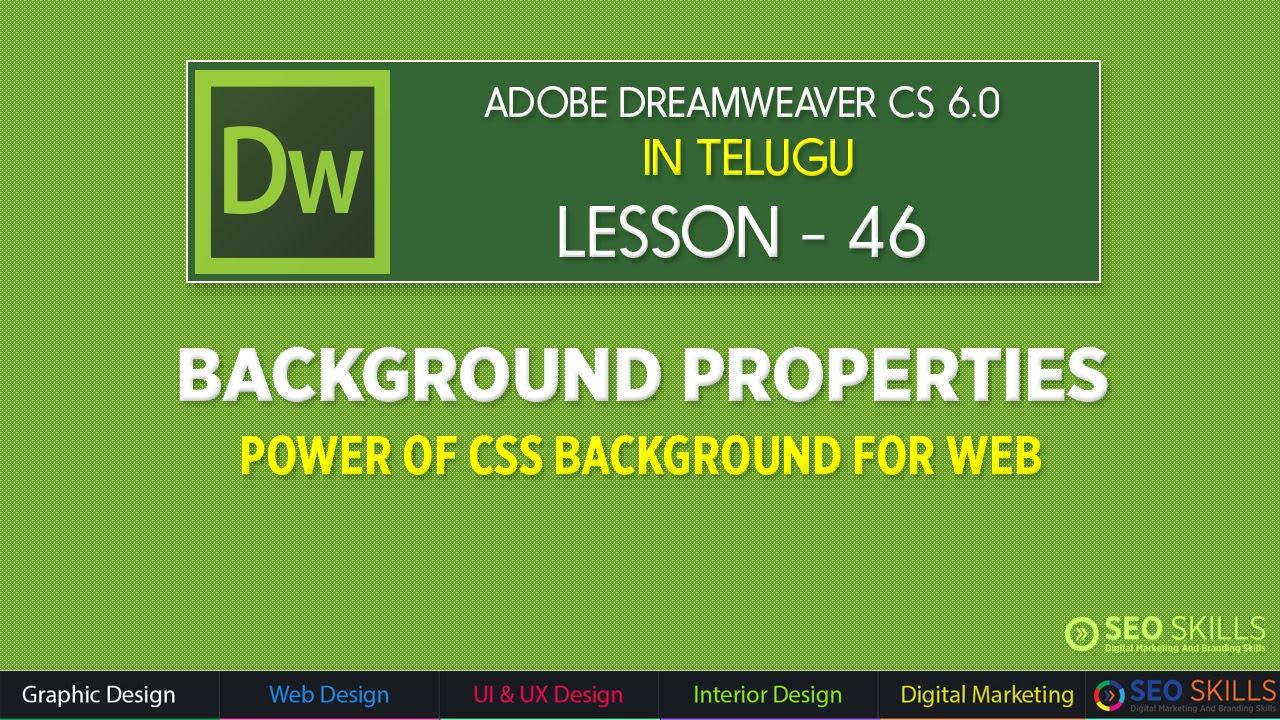 Background image css properties - Css Background Properties In Dreamweaver Cs6