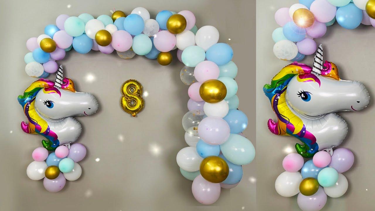 Unicorn Balloon Decoration for Birthday Girl