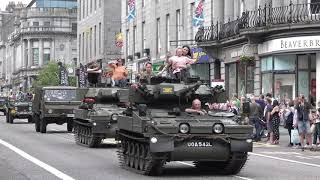 Vintage Military Vehicle & motorcycles parade through Aberdeen for Armed Forces Day 2019