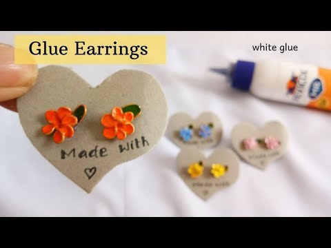 DIY Glue Earrings / How to Make Flower Earrings From Glue By Aloha Crafts