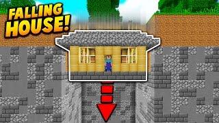 FALLING HOUSE UNDERGROUND TROLL! - Minecraft TROLLING (LOL)