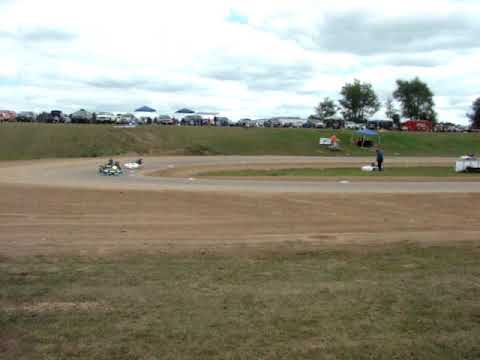 Rice Lake Speedway Kart Track, 8-24-2019. Pit view of Heat Race 1.