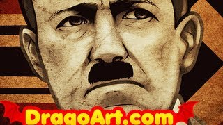 How to Draw Hitler, Adolf Hitler Nazi Germany, Step by Step