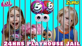 LOCKED 24 Hours Playhouse Jail - Opening 5 Surprise Series 2 and LOL Surprise Dolls - Pretend Play