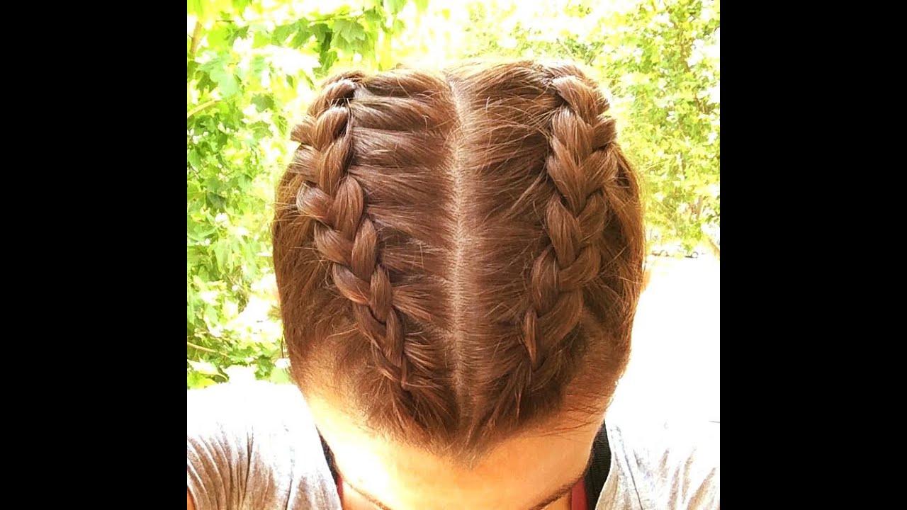 Peinados con 2 trenzas cosidas