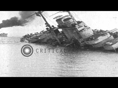 Austro-Hungarian Battleship SMS Szent István sinks after being torpedoed by Itali...HD Stock Footage