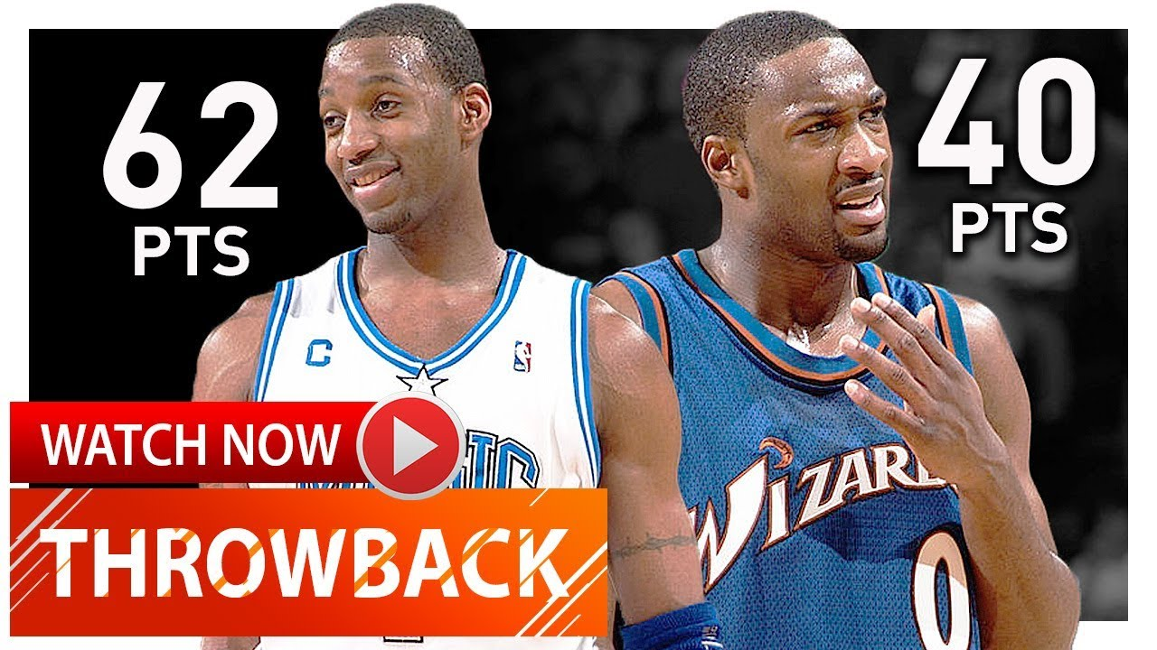new style a42f1 a3cd2 Tracy McGrady vs Gilbert Arenas EPIC Duel Highlights (2004.03.10) Magic vs  Wizards - 102 Pts Total!