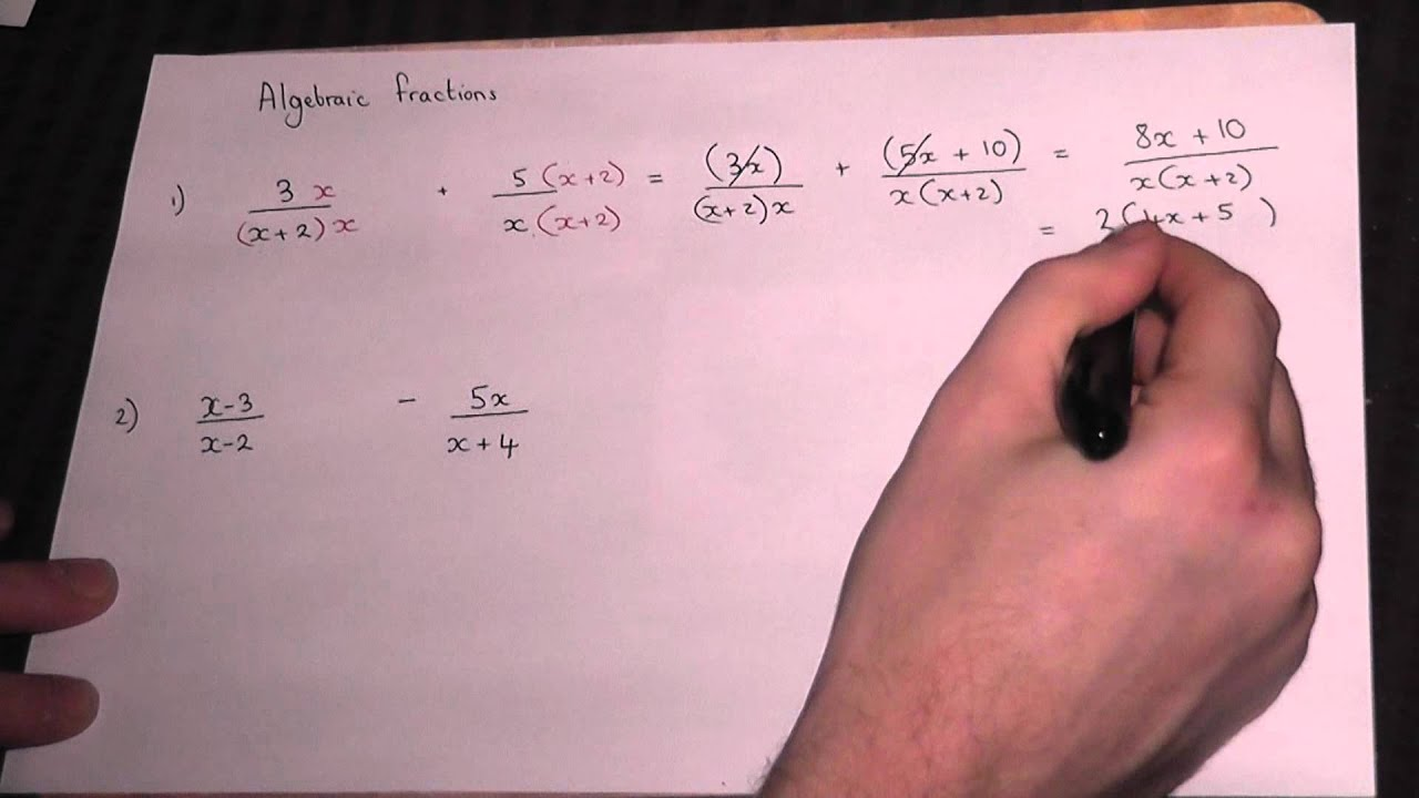 Adding algebraic fractions - GCSE and AS Maths revision - YouTube