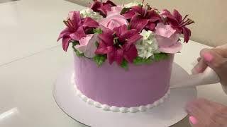 Торт Букет ЛИЛИИИ РОЗЫ ГОРТЕНЗИИ Как сделать ЛИЛИЮ РОЗУ ГОРТЕНЗИЮ из Белкового крема Красивый торт