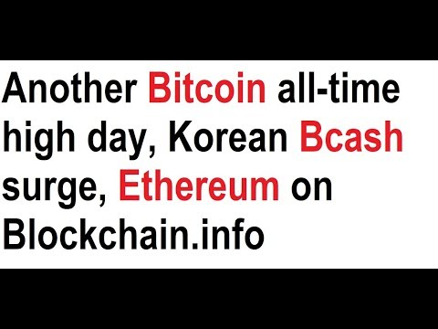 Another Bitcoin all-time high day, Korean Bcash surge, Ethereum on Blockchain.info