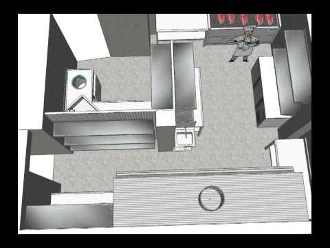 Dise o 3d reforma cocina industrial youtube for Diseno cocinas 3d