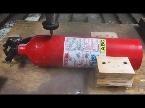 Fire Extinguisher cut in half with A 60000 PSI Waterjet Cutter - Interesting Cross Section
