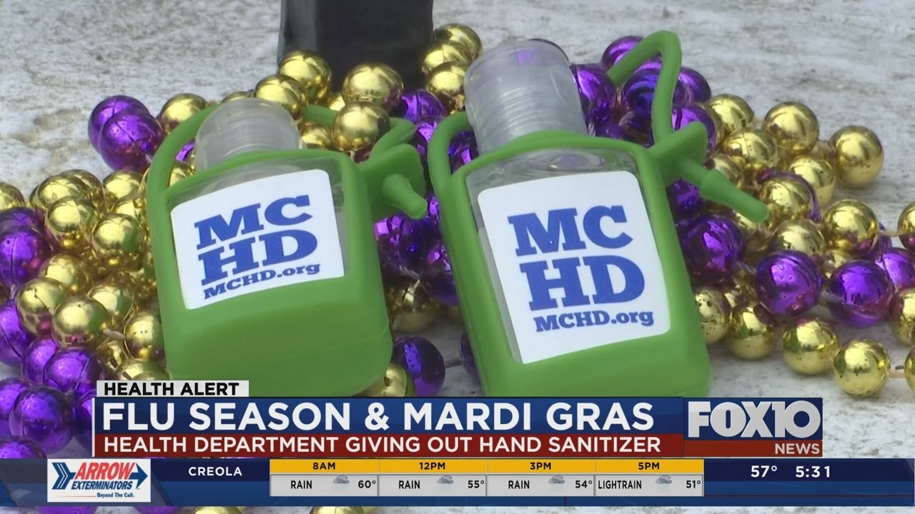 Mobile County Health Department giving out hand sanitizer during Mardi Gras thumbnail