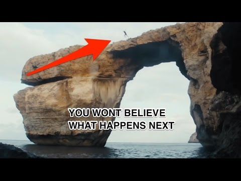 Gozo Azure window, last jump ever, as it starts to collapse must see video, never to be repeated