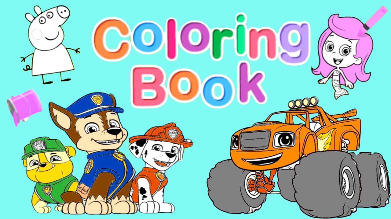 nick jr. coloring book pt. 1 - blaze, paw patrol, dora and friends,  wallykazam!