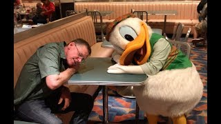 Donald takes a nap at Minnie's HOLIDAY DINE! Character Dining at Disney's Hollywood Studios!