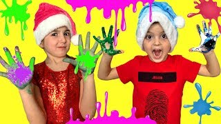 Masha and Cat Play Finger Painting Kids Art with Colored Paint Kids Toys