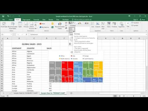 Microsoft Excel 2016 - Creating Treemap Charts