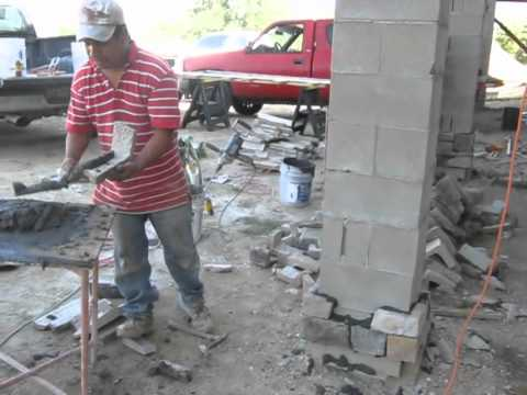 Stone Veneer Applied To Concrete Block Columns Youtube