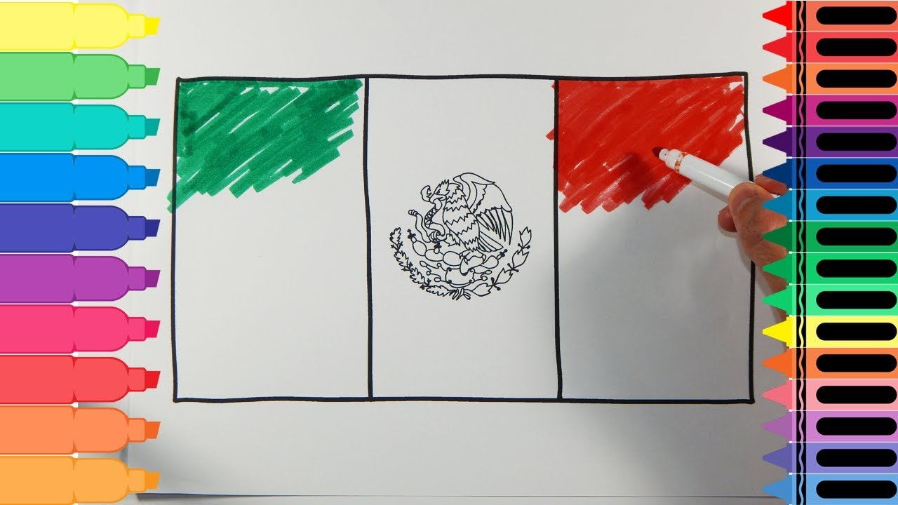 how to draw mexico flag drawing the mexican flag art colors