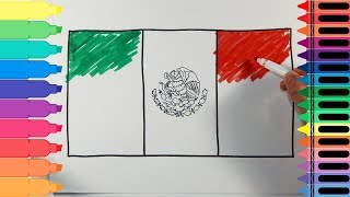 How to Draw Mexico Flag - Drawing the Mexican Flag - Art Colors for Kids | Tanimated Toys