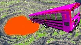 BeamNG drive - Leap Of Death Car Jumps & Falls Into Hot Lava #2