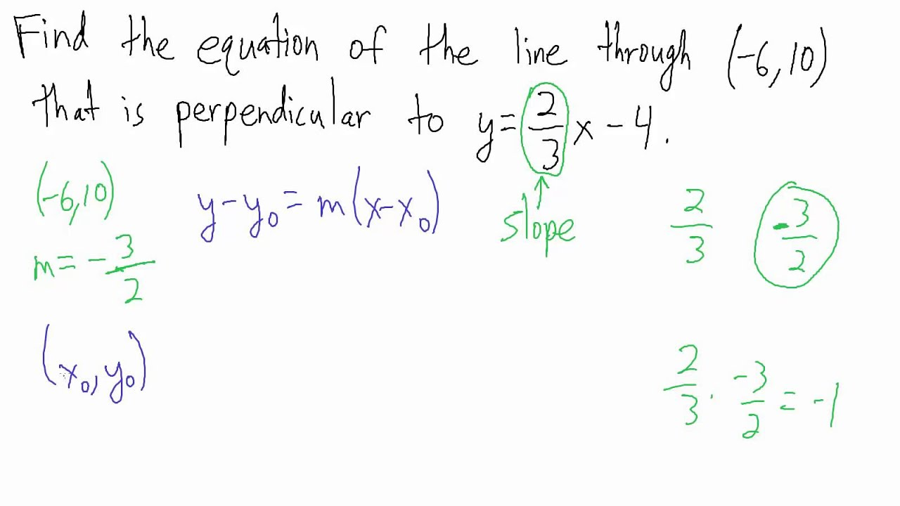 Equation Of Perpendicular Lines Examples