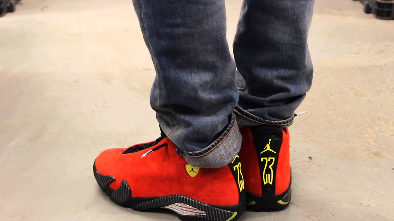 online retailer 7a0c1 cf363 ... cheapest air jordan 14 retro ferrari on feet video at exclucity youtube  cb4e7 b65bc