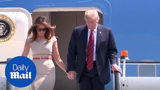President Donald Trump arrives at Stansted Airport for first UK state visit