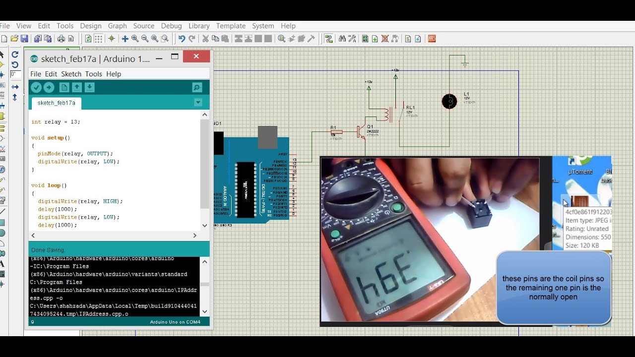 12v relay proteus simulation and driver  arduino project for beginners