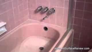 Old Pink Ceramic Tile, Bathtub, Toilet, and Floor Refinished