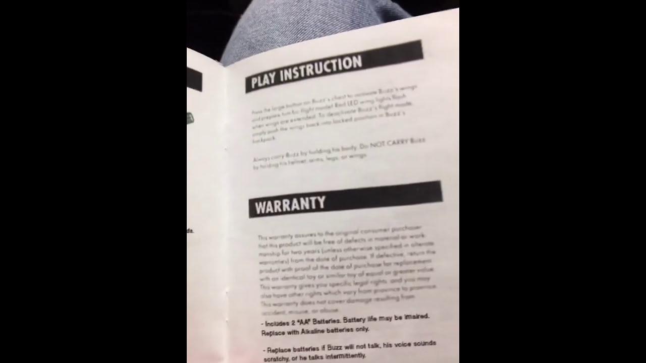 Buzz Lightyear Instruction Manual Replica