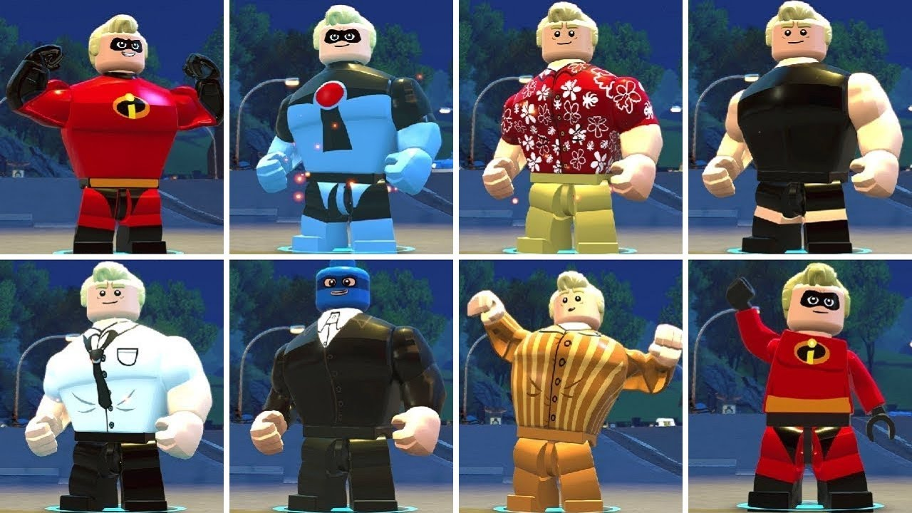 All Mr. Incredible (Bob Parr) Costumes in LEGO The Incredibles