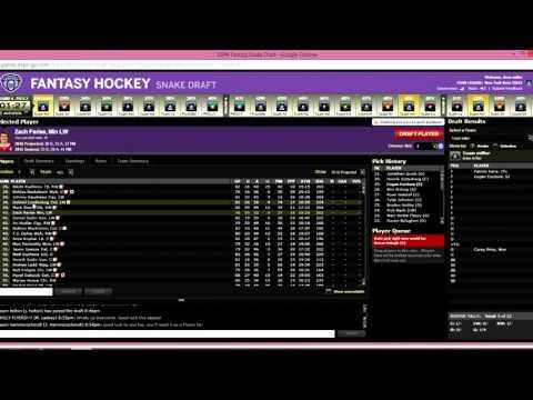 ESPN Fantasy Hockey Live Draft 10 Team H2H League 2015-16