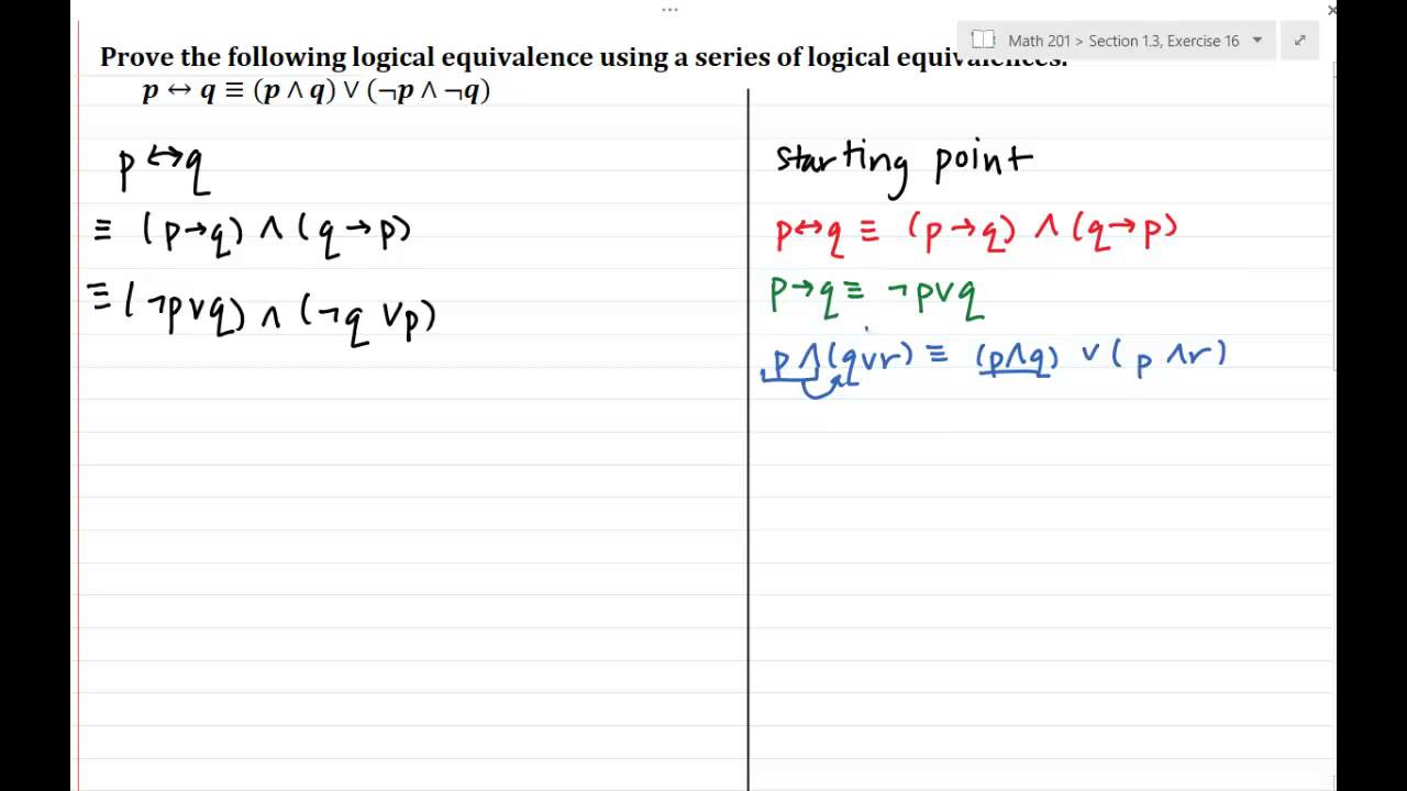Proving Logical Equivalence Involving The Biconditional Youtube