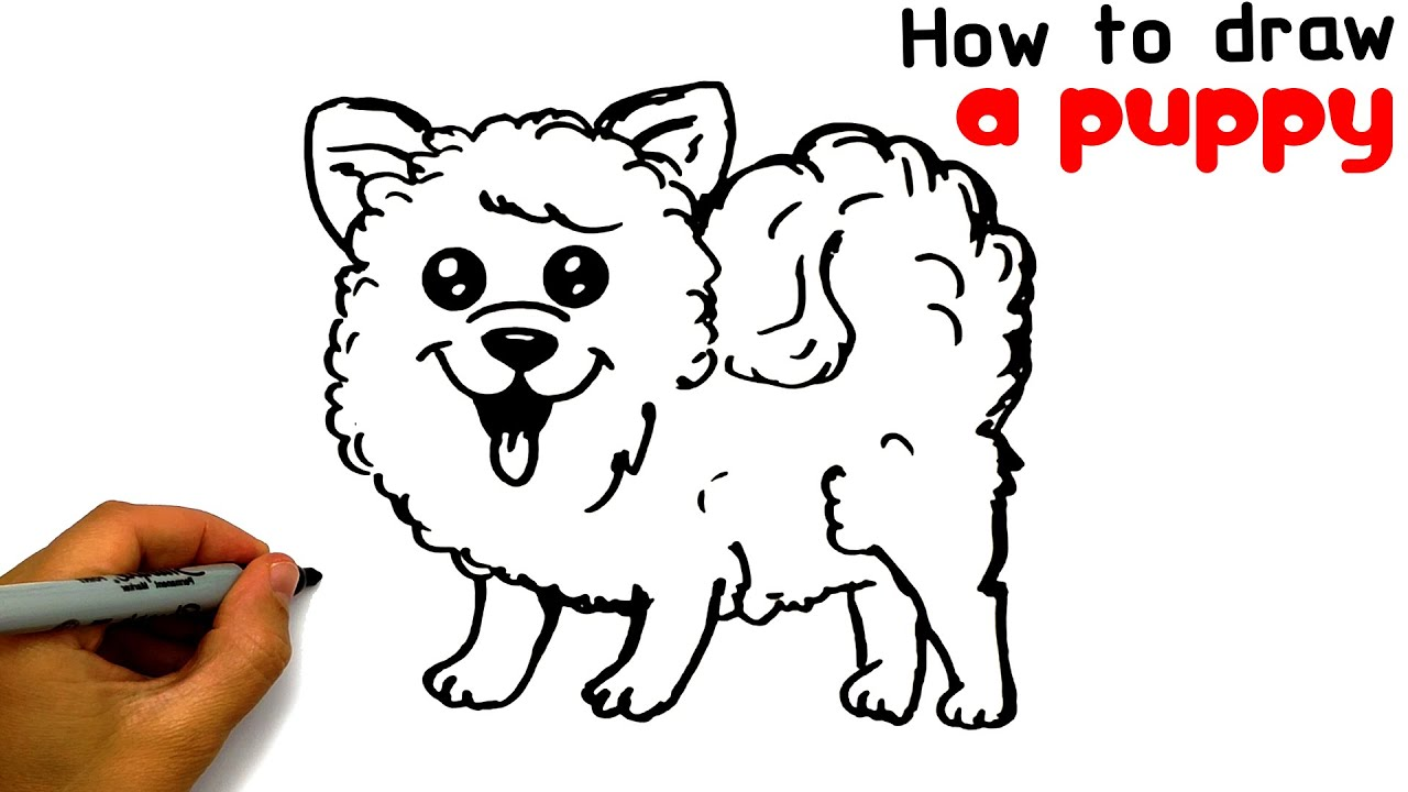 Easy way to draw a Puppy with a black marker | Drawing tutorial a puppy