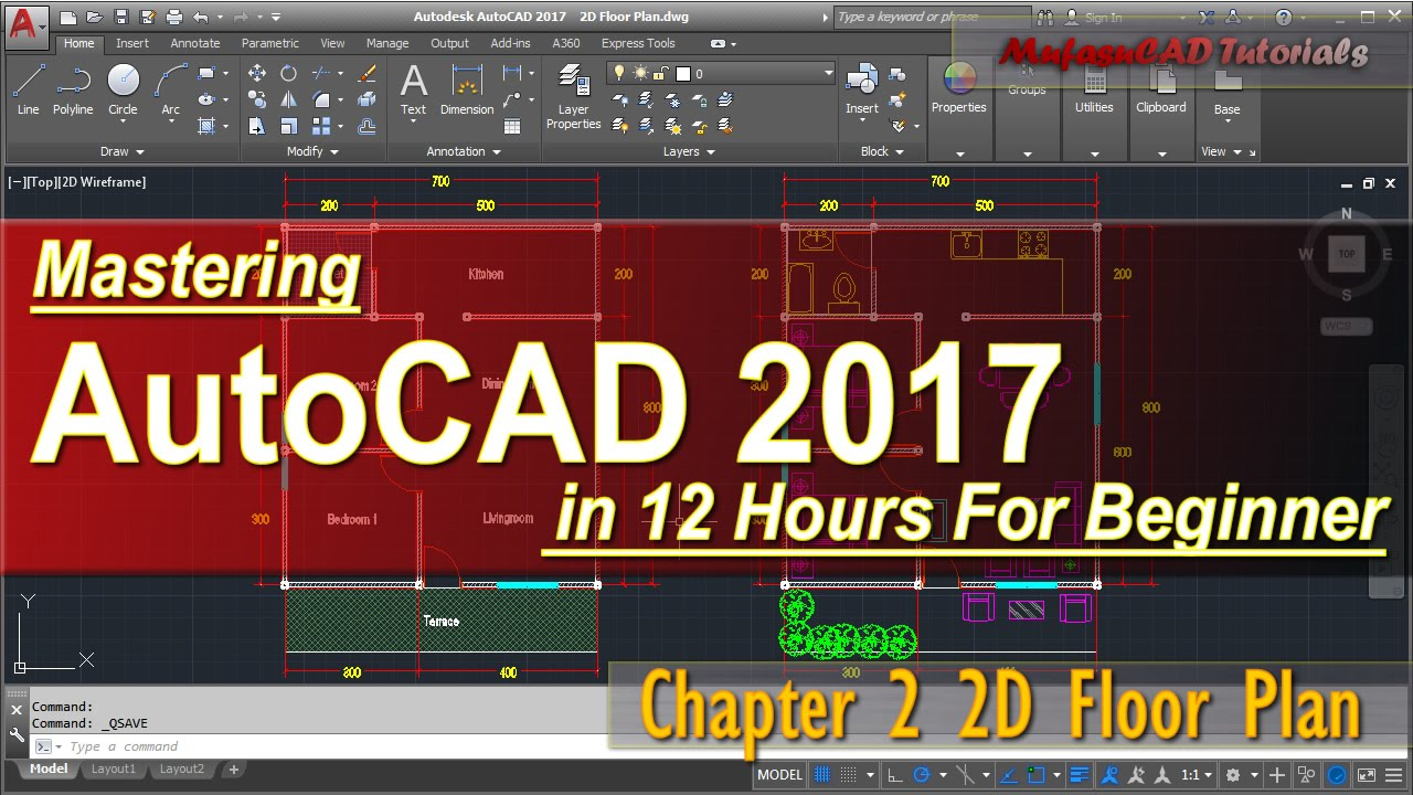 AutoCAD 2017 2D Floor Plan Tutorial For Beginner | Course Chapter 2    YouTube