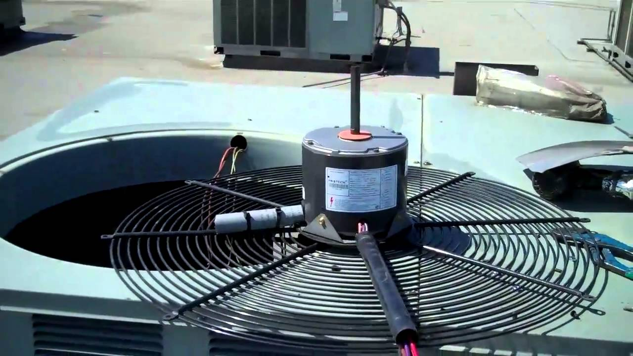 Hvac rheem condenser fan motor change out youtube for Motor for ac unit cost