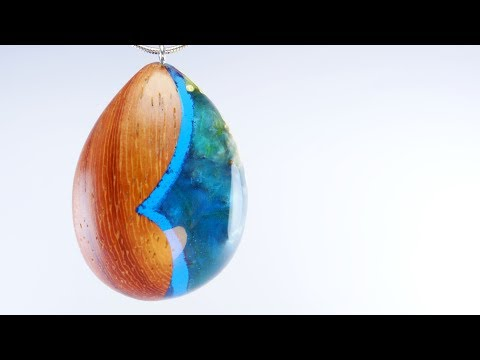 Making the Elemental Pendant from the wood of Padauk, Burl and Resin