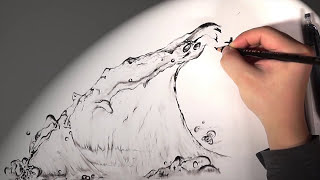 drawing water waves amazing hyun hd music pencil drawing time lapse graphite 파도 그림